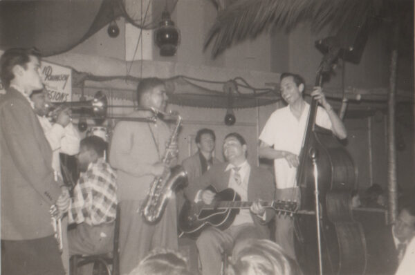 Chet Baker, left, sitting in with Howard Rumsey (right) and the Lighthouse All-Stars in 1949. Photo courtesy of the L.A. Jazz Institute