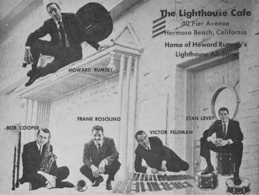 A later edition of the Lighthouse All-Stars. In 1957, Rumsey settled on a two-horn front line of tenor and trombone for the group and added the new arrival from Great Britain, Victor Feldman. 1958 photo courtesy of the L.A. Jazz Institute