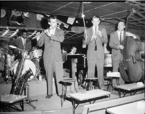 A strong second edition of the Lighthouse All-Stars featured (l-r) Max Roach, Bud Shank, Bob Cooper, and Howard Rumsey, with Claude Williamson on piano. 1955 photo courtesy of the L.A. Jazz Institute