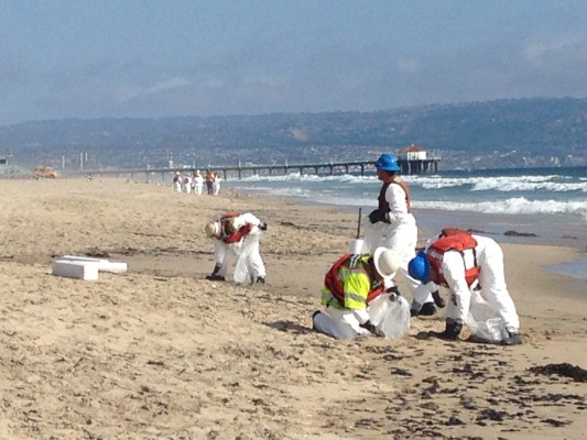 Workers Clean A Tar Like Substance Up From Manhattan Beach