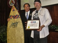Mayor Wayne Powell and surf icon Dennis Jarvis. Photo by J. May