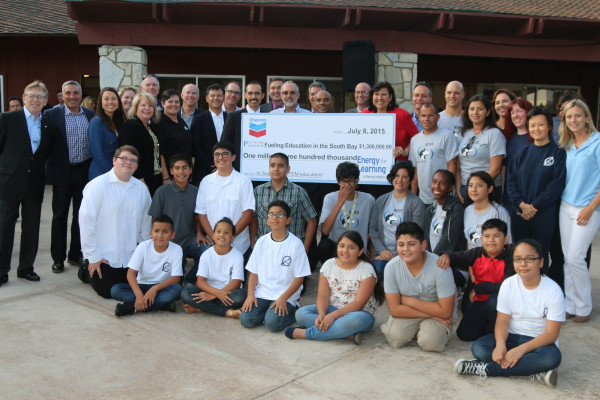 South Bay students and school officials express their appreciation to Chevron El Segundo presented checks totaling 1.3 million for STEM programs to Chevron El Segundo for its $1.3 million to the local schools STEM programs. Photo by Kevin Cody
