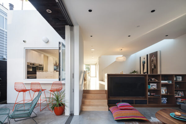The Grandview home in Manhattan Beach was designed to appear modest from the street, though the interior is extensive. Photo by Chang Kyun Kim