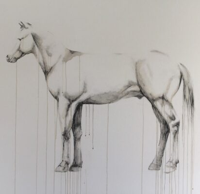 """""""Untitled (Horse with No Name),"""" charcoal and coffee on canvas, by Holly Socrates"""
