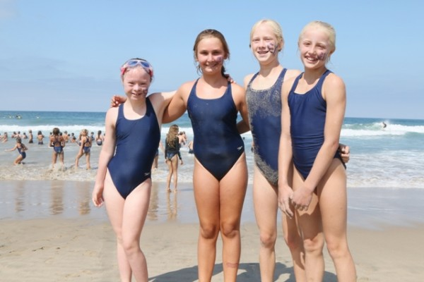 Los Angeles County Junior Lifeguards and Grandview schoolmates Kirra Troeger, Brooke Baudendistel, Jenna Colligan and Ava Miller. Photo by Kevin Cody