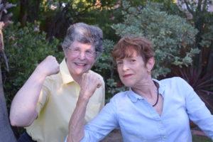 Flexing their literary muscle: Linda Bukowski, right, with Sue Hodson, the Huntington Library's Curator of Manuscripts. Photo by Bondo Wyszpolski
