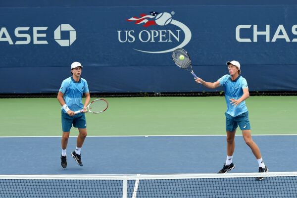 Palos Verdes' High's  Brandon Holt and partner Riley Smith compete in the doubles final  Doubles Final at the U.S. Open Junior Championships. Photo USTA