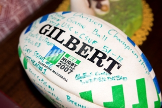 The 2007 University Rugby World Cup Championship Game Ball. USC went undefeated that year. Photo by Brad Jacobson (CivicCouch.com)