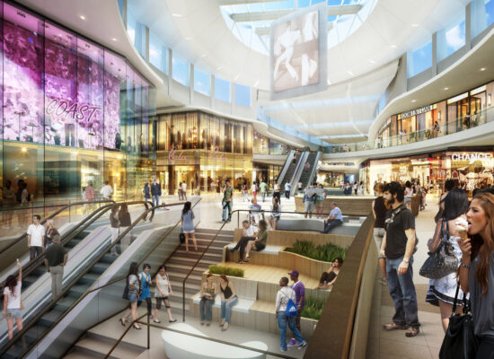 The new Grand Court is lit by a skylight 61 feet overhead. Rendering courtesy of Del Amo