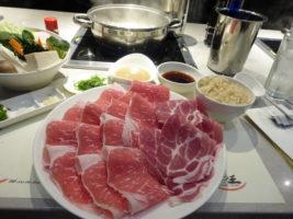 The raw protein and vegetables, ready for shabu-ing at King Shabu Shabu. Photo by Richard Foss