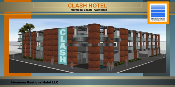 Clash hotel, a 30-room boutique hotel in development on Hermosa Avenue. Rendering courtesy Envirotechno