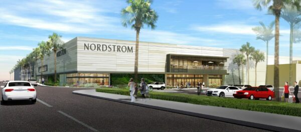 Nordstrom's mid century architecture pays homage to Del Amo's original luxury department stores. Rendering courtesy of Nordstrom