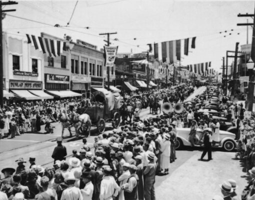 Redondo Beach's Covered Wagon Days, July 1937, in the city's old downtown district. The area was razed in the development of King Harbor in the 1960s.