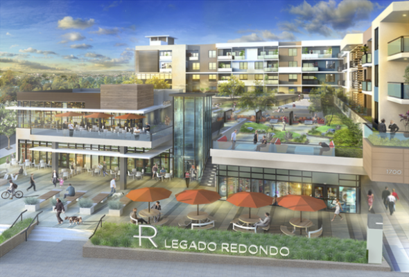 A rendering of the Legado Redondo project, at the intersection of Pacific Coast Highway and Palos Verdes Boulevard. The project is currently undergoing redesign, after facing significant community opposition. Image courtesy City of Redondo Beach