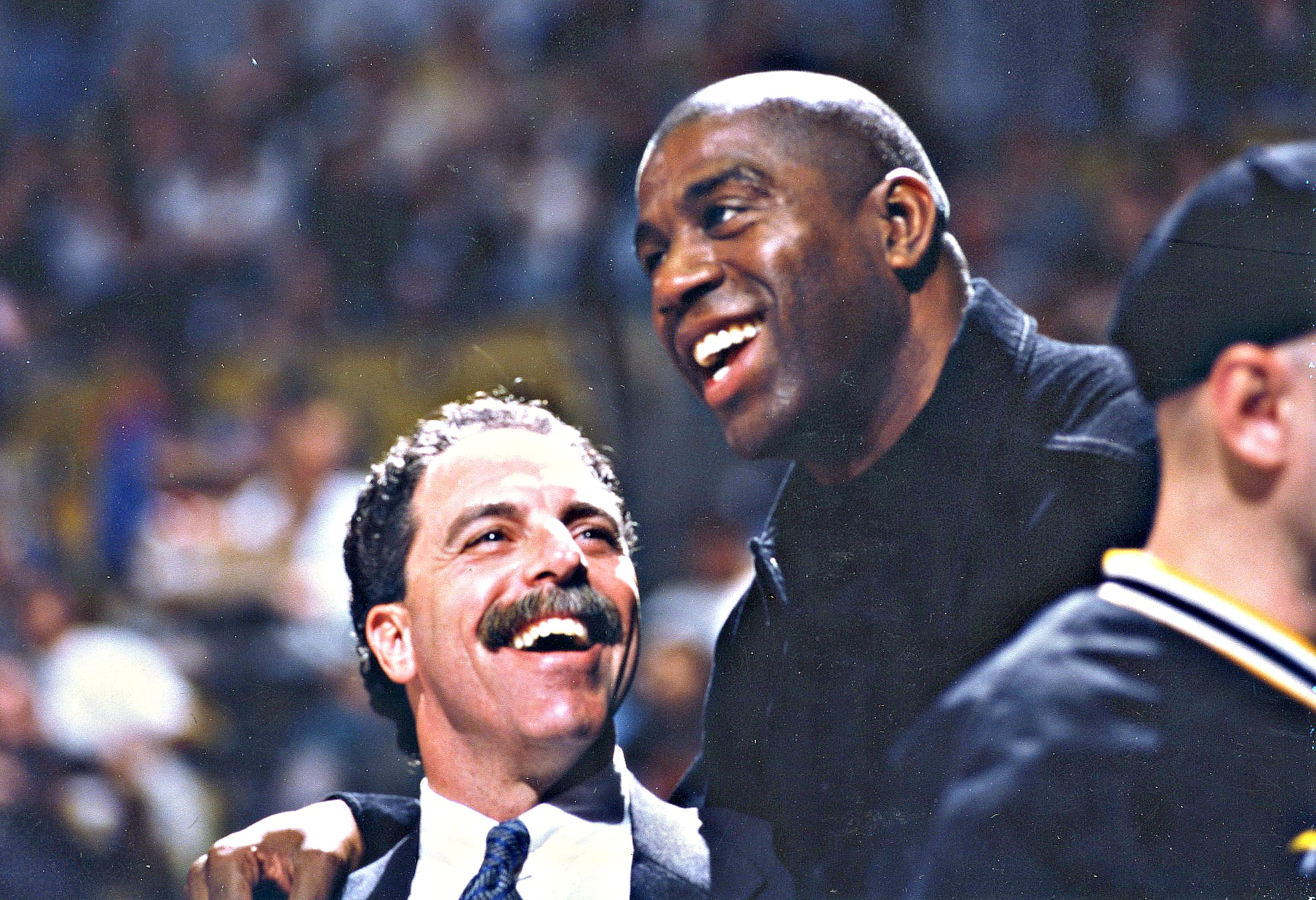 Vitti and Magic Johnson after Johnson retired from the Lakers. Shortly before Vitti broke the news to the team that Magic was infected with the HIV/AIDS virus Magic told him that he was going to beat the virus and was going to do something great with it. 24 years later he is still functioning at a high level and has dedicated himself to AIDS education around the world. Courtesy Gary Vitti collection
