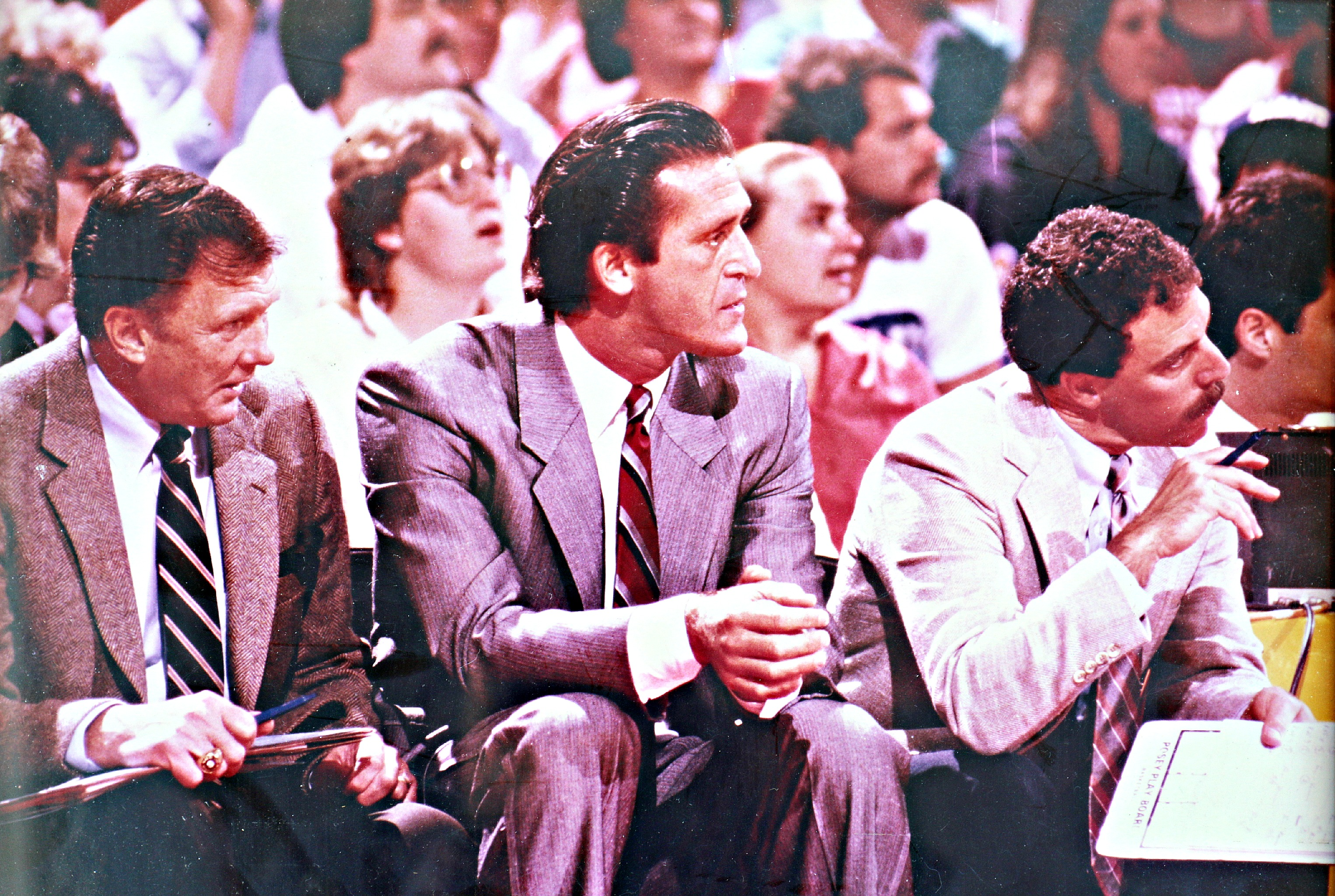 "Assistant coach Bill Bertka, coach Pat Riley and trainer Gary Vitti during the '80s ""Showtime"" era. Photo courtesy Gary Vitti collection"