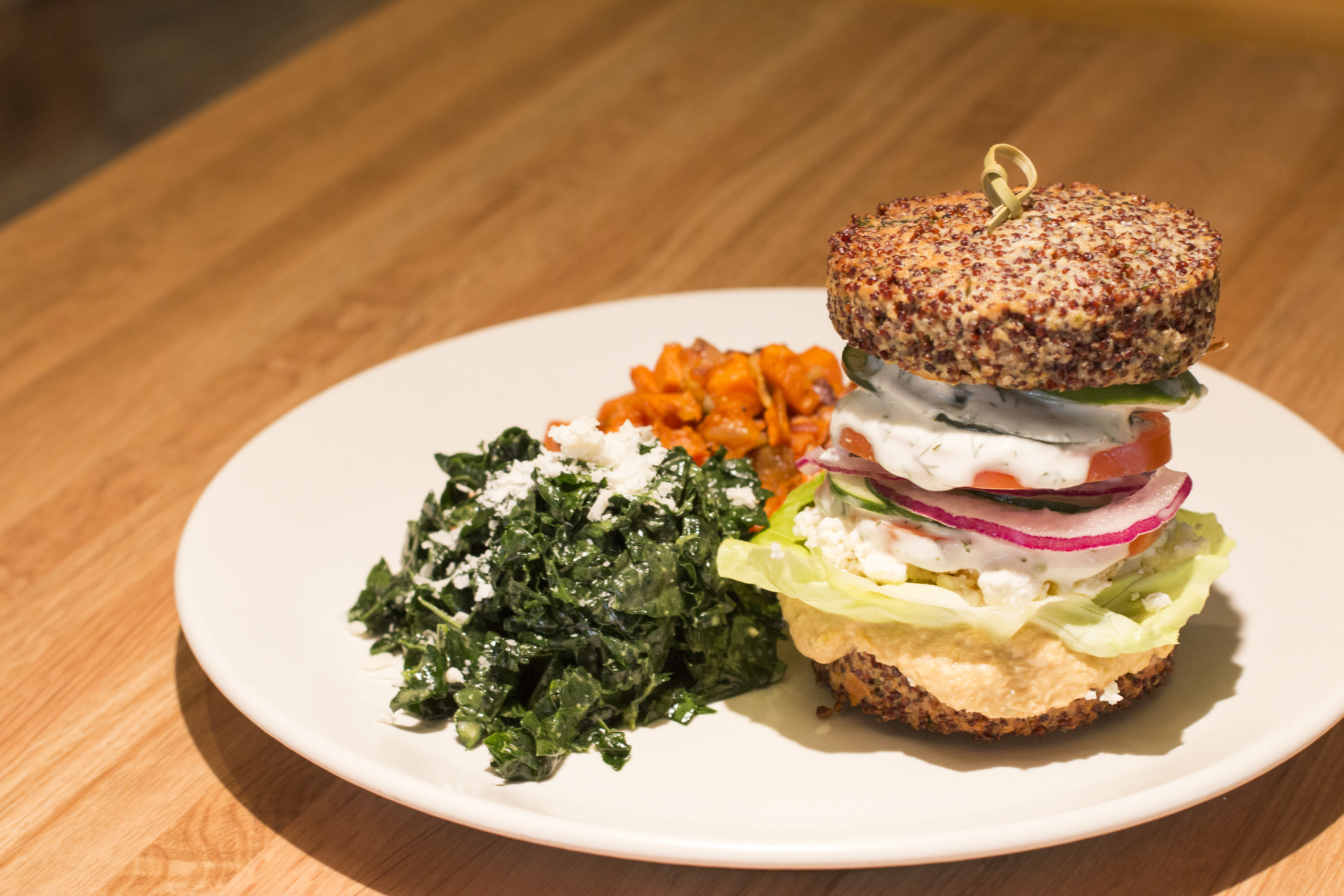 "The ""Inside Out Quinoa Burger."" Photo by Brad Jacobson"