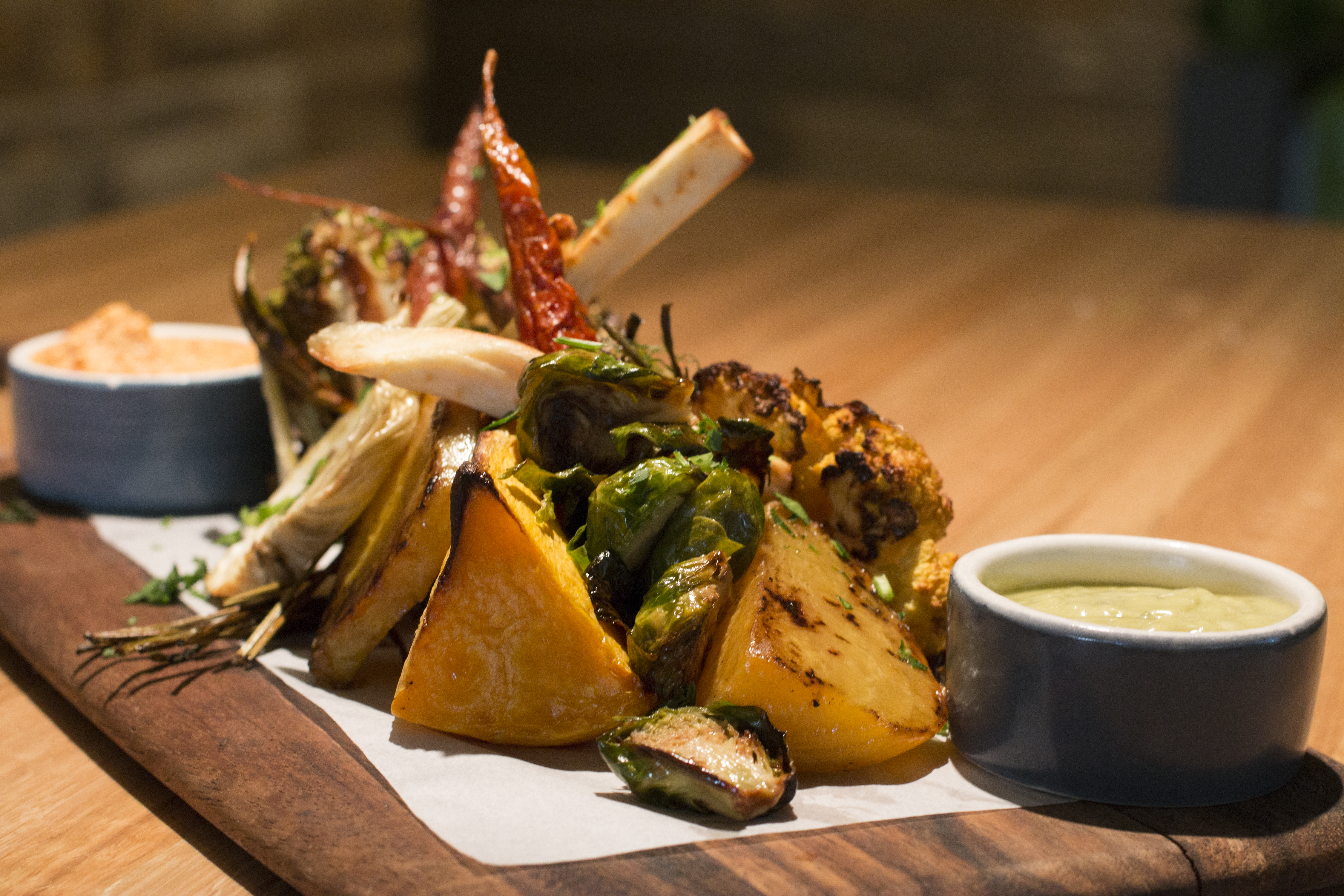 The roasted seasonal vegetable board at True Foods Kitchen. Photo by Brad Jacobson