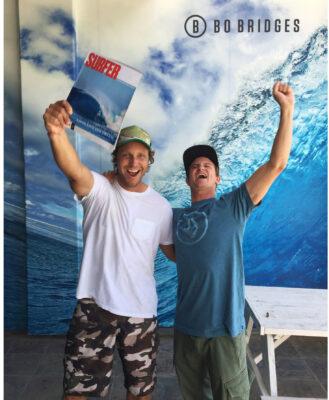 Bo Bridges and Alex Gray celebrate getting the November Surfer Magazine cover.