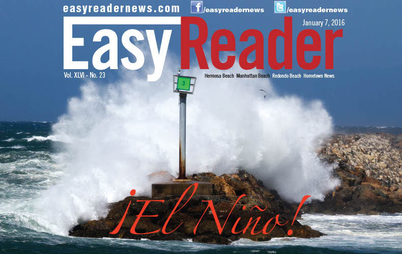 Winds howl and waves crash at the Redondo Breakwater last month. Photo by Brad Jacobson