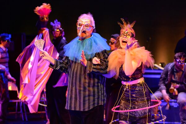 Robin Buck as Voltaire/Doctor Pangloss and Danielle Marcelle Bond as Paquette. Photo by Keith Ian Polakoff.