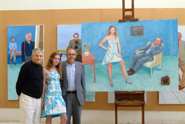 Artist David Hockney with Chloe McHugh and Jim McHugh, and Hockney's 2005 portrait of them. All Photos in this story are by Jim McHugh, unless noted.