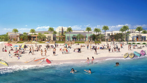 """The """"revitalized"""" Seaside Lagoon, as designed by CenterCal for the Redondo Waterfront project. Image courtesy CenterCal"""