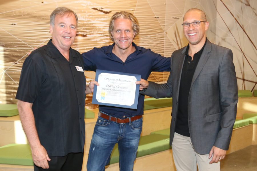 Manhattan Beach Mayor Mark Burton with Digital Ventures partners Jeff Schumacher and Walter Delph. Photo by Kevin Cody