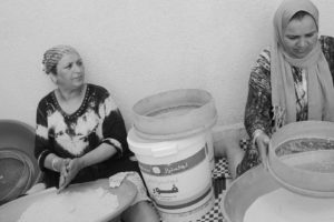 Zina Marouani making couscous from scratch in Tunisia. Photo courtesy the Marouani family.