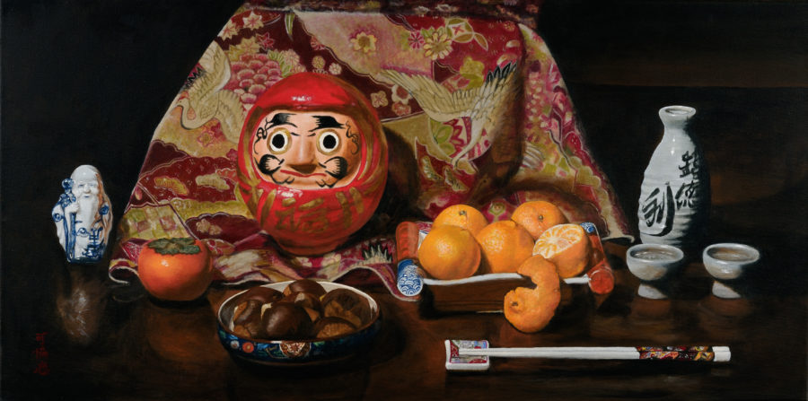 """""""Wish Fulfilled,"""" by Karen Yee. """"The title comes from the doll, or daruma. In Japanese tradition, when one buys the daruma from the temple, its eyes are empty. The buyer makes a wish and colors in one of the pupils. When the wish is granted, the buyer gratefully colors in the other pupil."""""""