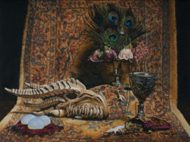 """""""Unendings,"""" by Karen Yee. The artist writes: """"This painting is full of symbolic images. The bones are a dragon skull. Skulls in paintings have long held the symbolism of vanity, or the frivolity/fleeting sense of life, and mortality. So do the wilted flowers. The peacock feathers have a long-standing meaning of immortality, or resurrection and renewal. Dragons have a sense of this meaning, too, as they are mystical creatures. Eggs mean creation or birth. The goblet would hold wine, which is the elixir of life. The bag is meant to be an alchemy bag, but what I filled it with is spices and salt crystals. What better metaphor for life than spice?"""""""
