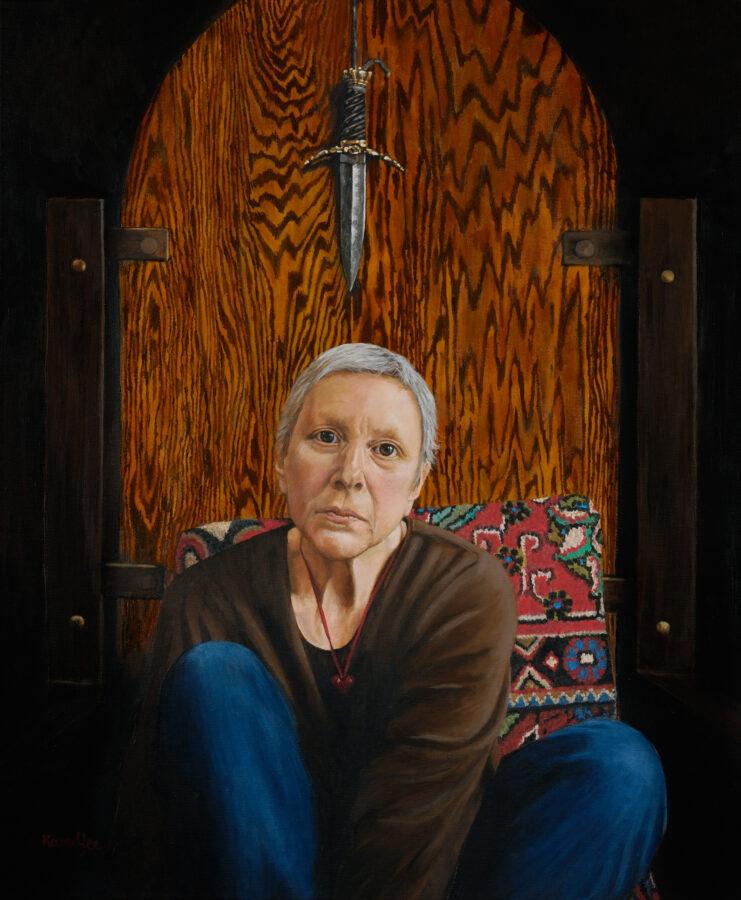 """Self Portrait"" (with dagger), by Karen Yee."