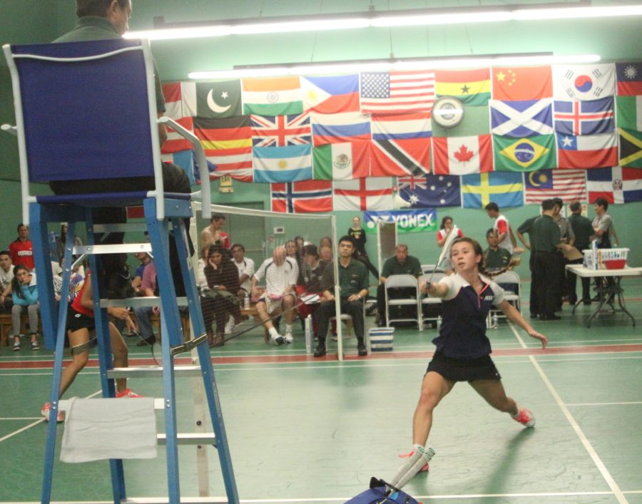 Manhattan Beach Badminton Club member Yoshiko Cohn played in a mixed doubles match on Friday night. Photo by Caroline Anderson