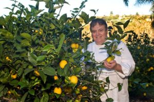 Terranea executive chef Bernard Ibarra among the resort's lemon groves, Photo by David Fairchild