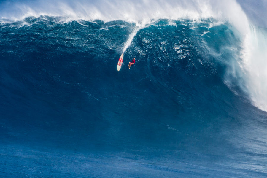 Aaron Gold, falling down a monster at Jaws. Photo by Brent Broza