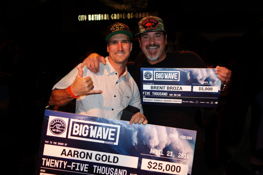 Aaron Gold and Brent Broza, celebrating their victories at the WSL Big Wave Awards last Saturday. Photo courtesy Brent Broza
