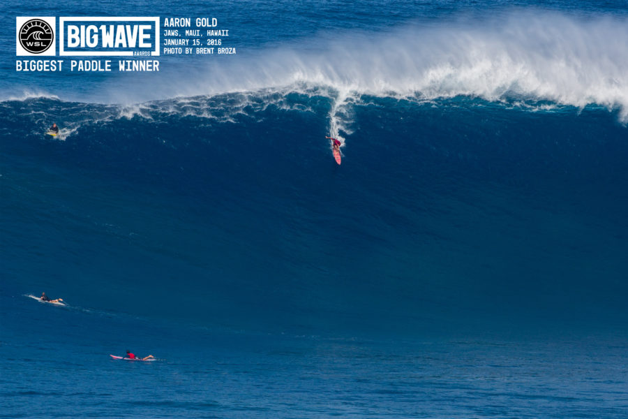 The award-winning photo of Aaron Gold's record-setting wave. Photo by Brent Broza