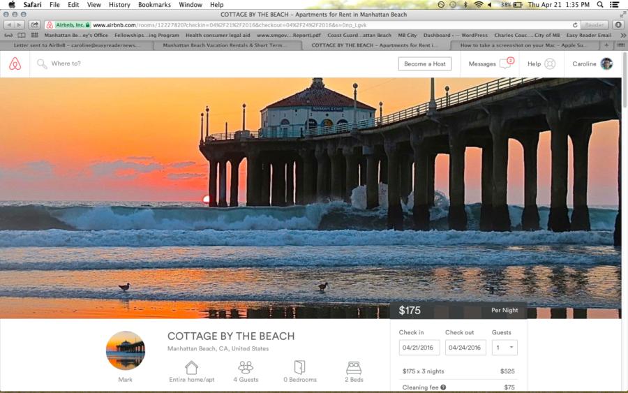 A Manhattan Beach rental listing on Airbnb.com