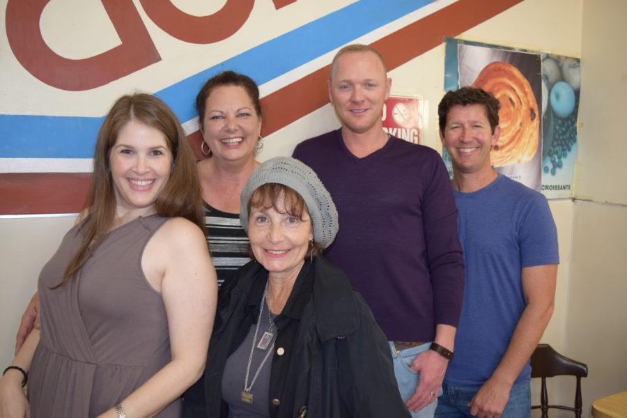 Hillary Weintraub, artistic director Lisa Leonard, Diana Mann (in front), director Jeffery Caldwell, and Steve Oreste. Photo by Bondo Wyszpolski