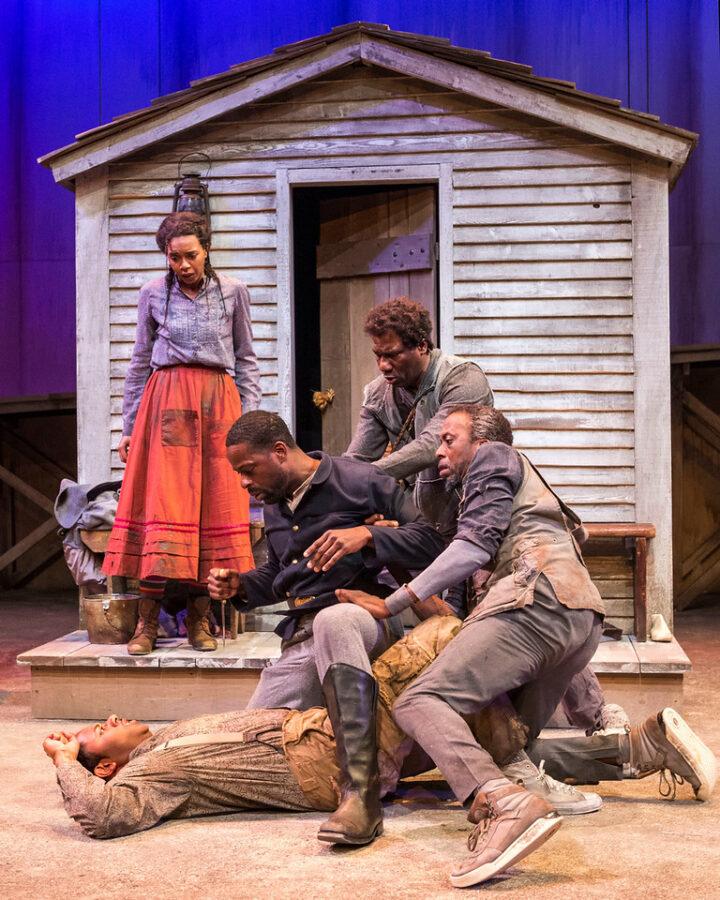 L-R: Sameerah Luqmaan-Harris as Penny (standing), Larry Powell as Homer, Sterling K. Brown as Hero/Ulysses, Russell G. Jones as Leader/Runaway Slave, and Julian Rozzell Jr. as Second/Runaway Slave. Photo by Craig Schwartz