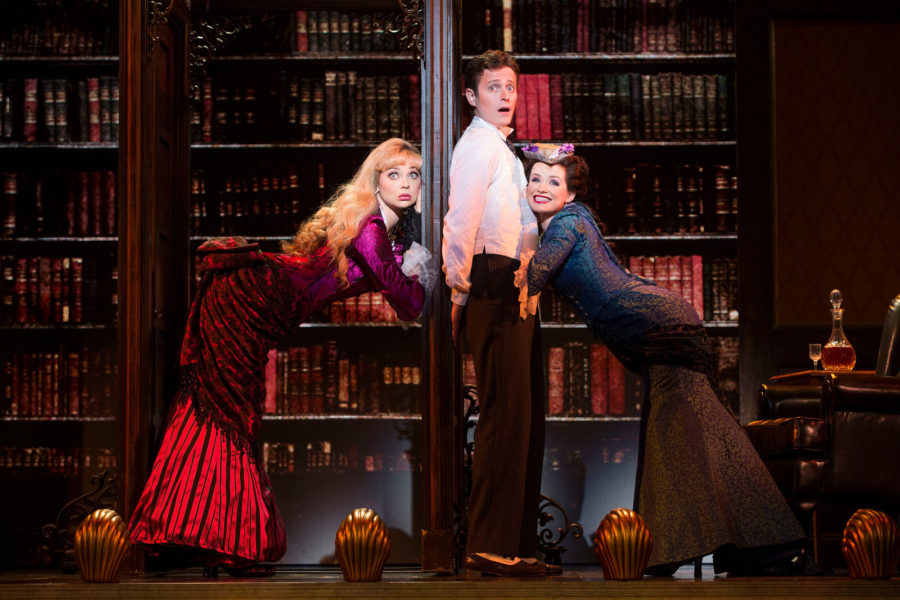 National Touring Company. (L-R)  Kristen Beth Williams as Sibella Hallward, Kevin Massey as Monty Navarro and Adrienne Eller as Phoebe D'Ysquith. Photo by Joan Marcus