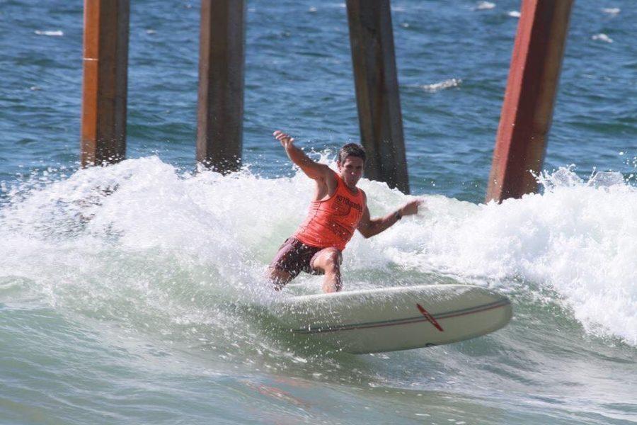 "Jeremy Porfilio at last year's Hermosa Beach Hotdogger Championships. Just another day in his ""streak."" Photo by Kiyo Okada"