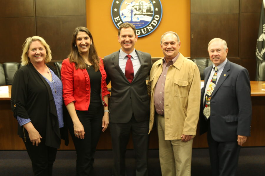 The five candidates for El Segundo City Council, from left: Carol Pirtztuk, Marie Fellhauer, Drew Boyles, Dave Atkinson, and Don Brann