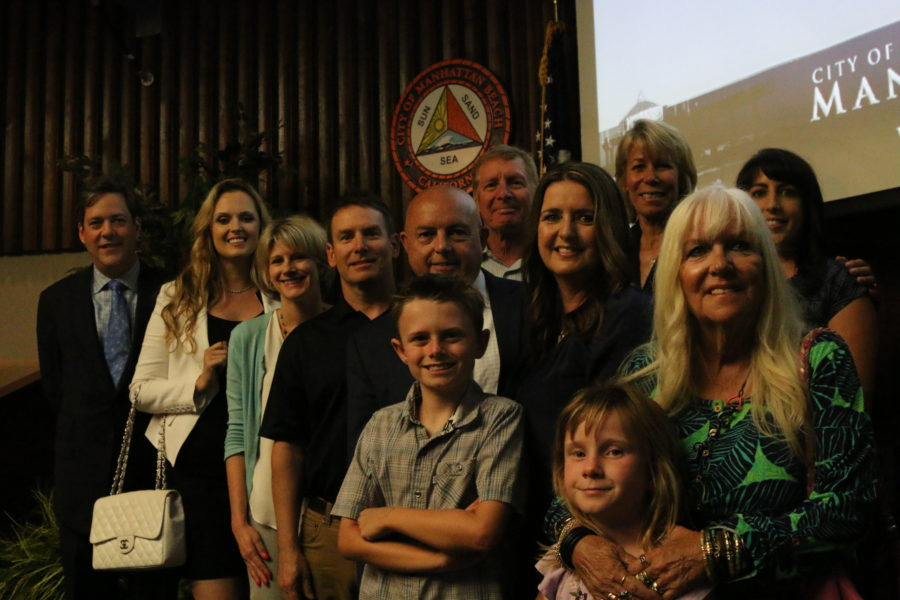 New Mayor Tony D'Errico with his family after being sworn in. Photo by Caroline Anderson