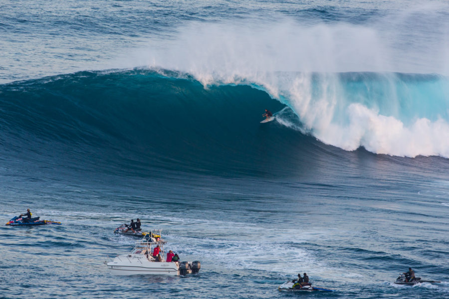 Hermosa Beach surfer Trevor Carlson earned his second-consecutive Surfline Overall Performance Award nomination for a winter of waves like this one at Jaws. Photo by Brent Broza