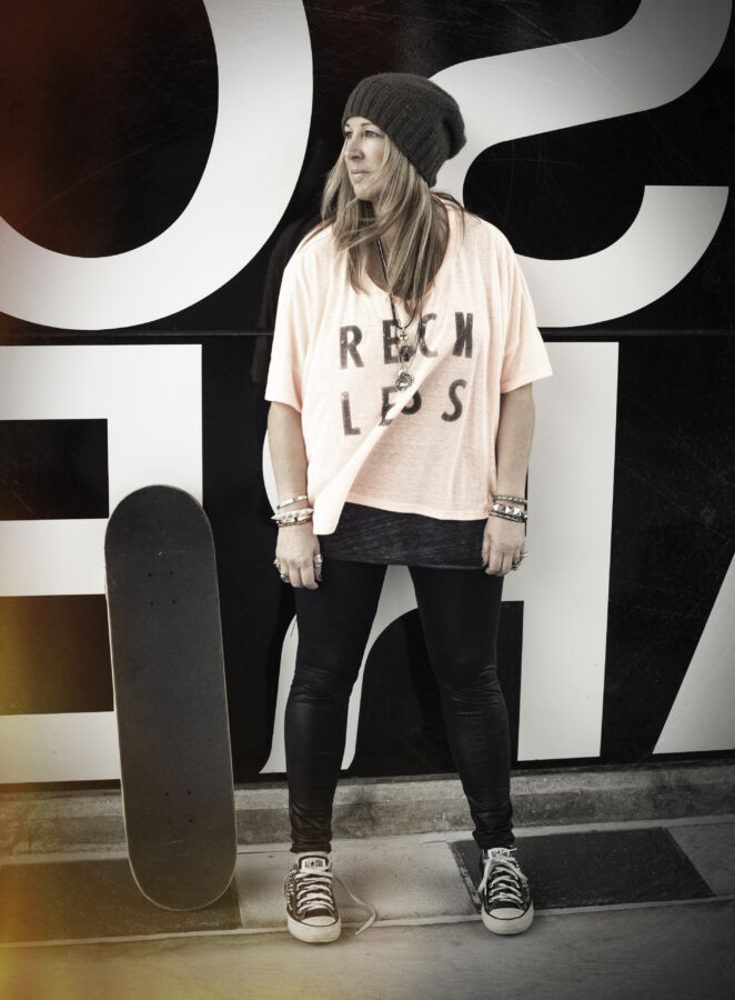 Whitehead models apparel from her skate-inspired fashion line Girl is NOT a 4 Letter Word. Photo by Ian Logan