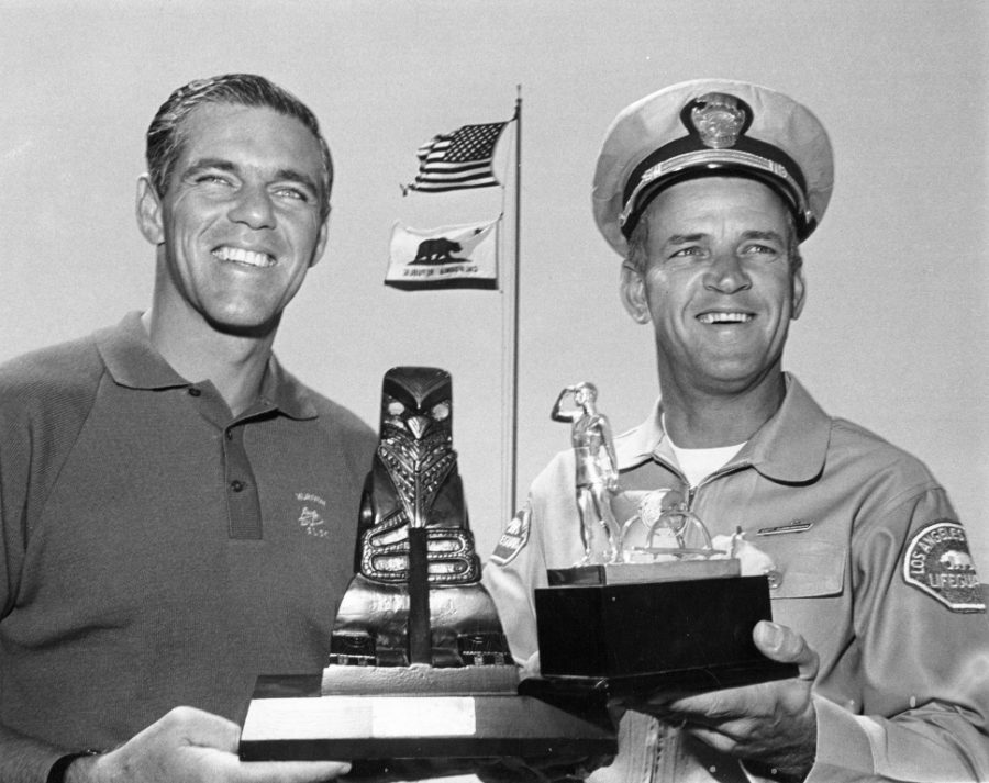 Lifeguard Lt. Bob Burnside and Captain Jerry Cunningham. The two introduced California lifeguarding techniques to Australian lifeguards during the 1956 Melbourne Olympics..