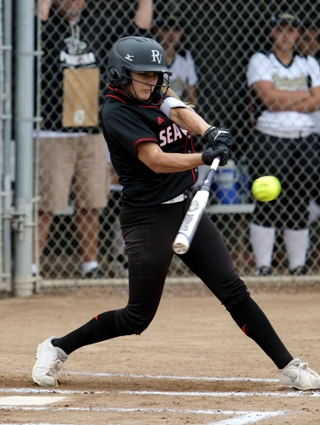 Known for her domination in the circle, Steffi Best had a stellar season at the plate, leading Palos Verdes in batting average and RBI. Photo by Ray Vidal