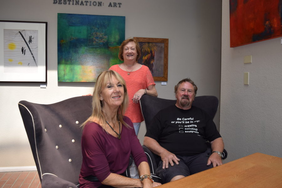 Studio artists at Destination: Art. L-r, Susan Lilly, Margaret Lindsay, and David Wolfram. Photo