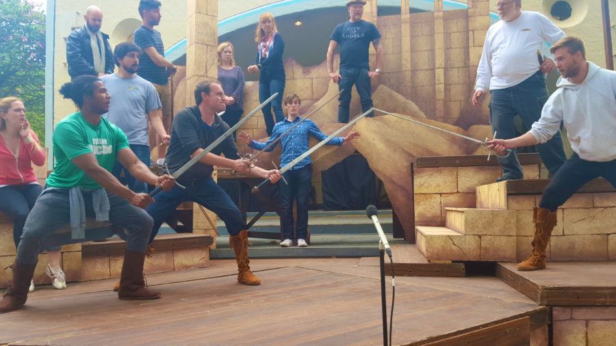 "Rehearsals last weekend for ""Cymbeline,"" which opens tonight. L-r, Swordsmen Iyan Evans in green, Ryan Knight, and across from them Christopher Dietrick. Photo courtesy Shakespeare by the Sea"